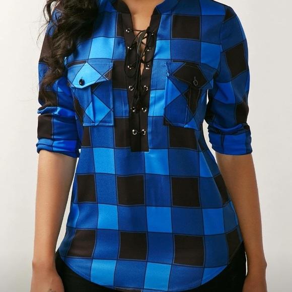 7392b60734ba5c Plaid Lace Up front blouse